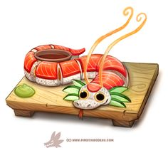 Daily Paint 1305. Dragon Roll by Cryptid-Creations on DeviantArt