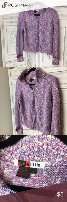 Warm Zip Up Knit Sweater Fun pink, purple and white zip up. Is warm and knit material. Some flaws as shown, stain on very bottom of sweater in front. Zipper needs to be reattached easy fix just my sewing machine is packed down. live a little Sweaters Cardigans