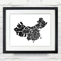 A Typographic Word Map Of China The Provinces Of China Have Been Graphically Stretched To