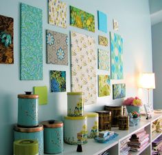 more awesome ways to display fabric - could just be cardboard under there - I'm soooo trying this