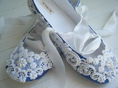Delft blue and lace slippers