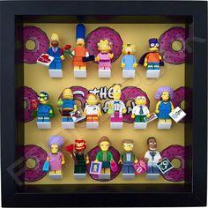 The Simpsons Lego minifigure display frame - black frame.