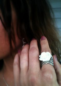 Stunning Crisp White Rose Ring on a Silver by AnnabellandLouise, $9.00