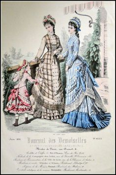 June fashions, 1876 France, Journal des Demoiselles et Petit Courrier des Dames Réunis; Fairly modest bustle size, like the length of the one of the right -- also, note how the bodices and the skirt aprons are the same piece? 1870s Fashion, Edwardian Fashion, Vintage Fashion, Gothic Fashion, Fashion Fashion, Fashion Dresses, Victorian Costume, Victorian Era, Victorian Dresses