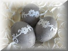 Ostereier - ~*~ Drei verspielte Blumen Ostereier für Ostern~*~ - ein Designerstück von Bonbonfee bei DaWanda