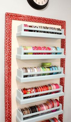 Use painted ikea spice racks as ribbon storage - Awesome DIY Craft Room Organization Ideas To Steal Right Now!