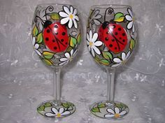 Lady Bug and Daisy Hand Painted Wine Glass by BedOfRosesBoutique....cooooorrrrrryyyyyy