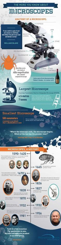 Microscopes 101 : This infographic details the anatomy, the history and the evolution of the microscope.  > http://infographicsmania.com/microscopes-101/?utm_source=Pinterest&utm_medium=ZAKKAS&utm_campaign=SNAP