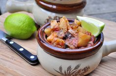 Cubed veggies in this healthy curry dish. Slow Cooker Eggplant, Potato & Mushroom Curry.