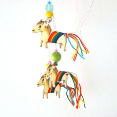 Rainbow pony shrink art necklace