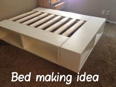 16 Gorgeous DIY Bed Frames- Tutorials, including this DIY storage bed by Ana white from Happy Huntsman! Diy home decor on a budget Furniture Projects, Home Projects, Diy Furniture, Furniture Design, Furniture Removal, Furniture Outlet, Plywood Furniture, Furniture Plans, Modern Furniture