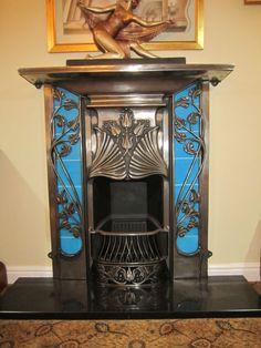 Art Nouveau blue fireplace