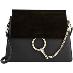 Chloé Women's Faye Medium Shoulder Bag (30 330 ZAR) ❤ liked on Polyvore featuring bags, handbags, shoulder bags, accessories, purses, black, purse shoulder bag, handbags purses, strap purse and chloe handbags
