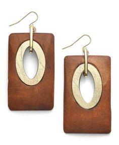 Bar III Earrings, Gold Tone Wood Rectangle Drop Earrings