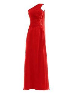 1c03dc386b1 Snowskite Womens One Shoulder Long Chiffon Bridesmaid Evening Dress size 8  Red at Amazon Women s Clothing