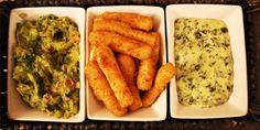 Homemade guacamole, mozzarella sticks & creamy spinach artichoke dip #dining #appetizers #foodie #food