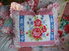 pillow made from vintage tablecloth