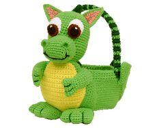 <b>7340</b> Dragon Easter Basket Crochet Amigurumi Pattern