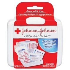 Johnson & Johnson Mini First Aid Kit. Portable first aid kit for nonprofits, churches, school and charities.
