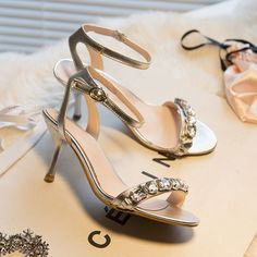 Women High Heels Rhinestones Shinning Ankle Strappy Slinabacks Eisure Shoes
