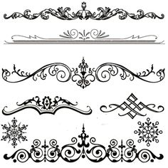 Royalty-Free (RF) Clipart Illustration of a Digital Collage Of Six Black And White Elegant Floral Design Headers And Dividers by BestVector Stencil Art, Stencils, Shapes Images, Ornaments Design, Digital Collage, Vector Art, Vector Graphics, Digital Scrapbooking, Design Elements