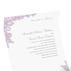 lacy corners seal and send wedding invitation | vintage wedding invites at Invitations By Dawn