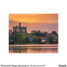 Warkworth Village and Castle at sunset Canvas Prints