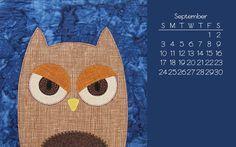 Free September 2017 Owl Desktop Calendar