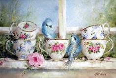 Ready to Hang Print - Birds & Tea Cups on the Window Sill - POSTAGE included Australia wide