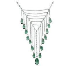 How Beautiful!! Elle Collection Sterling Silver Green Quartz Necklace