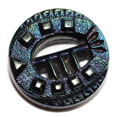 Button / Glass Black / Pierced / Buckle / Horseshoe  / Old / Small by KPHoppe on Etsy