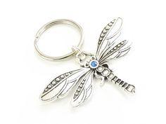 Beautiful dragonfly keychain with blue rhinestone.