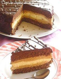 Chocolate cake with cream coffee Romanian Desserts, Romanian Food, Holiday Desserts, Just Desserts, Cake Recipes, Dessert Recipes, Sweet Tarts, Food Cakes, Something Sweet