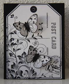 Hero Arts Leafy Vines, Big Postcard & Butterflies from Antique Engravings