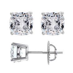 1.50ctw Moissanite Cushion Cut Stud Earrings in Platinum. Forever One Moissanite®
