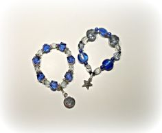 Beaded Blue and Silver Charm Bracelet Set by StaceysShoppe on Etsy, $10.00