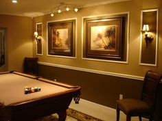 great idea for pictures on wall by pool table at K's home....