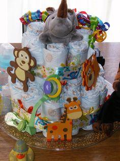 Jungle Diaper Cake- Jungle Baby Shower