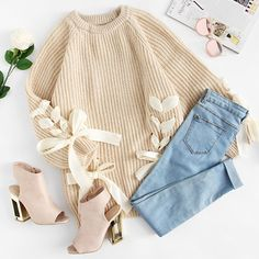 Lace Up Bow Tie Raglan Sleeve Sweater