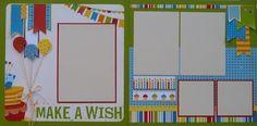 Premade Scrapbook Pages - Birthday - Make a Wish 2 page spread; Birthday Scrapbook Layouts, Baby Scrapbook Pages, Kids Scrapbook, Scrapbook Sketches, Scrapbook Page Layouts, Scrapbook Cards, Photo Layouts, Ipad, 6 Photos