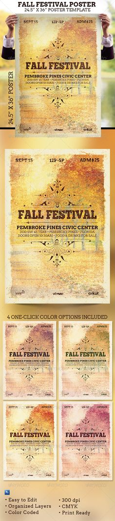 Fall Festival Poster Template #harvest #poster Download : https://graphicriver.net/item/fall-festival-poster-template/5856223?ref=pxcr