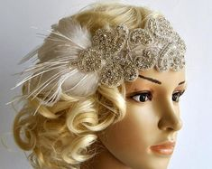 Rhinestone flapper Gatsby Headband Wedding by BlueSkyHorizons