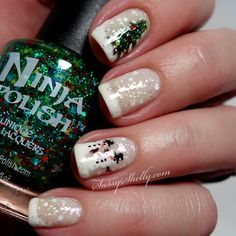 snowglobe nails - christmas tree & snowman  freehand nail art by Sassy Shelly