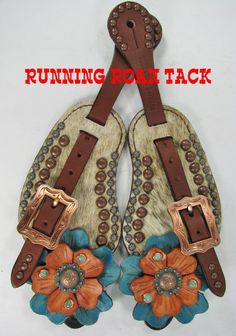 Light Brindle Cowhide Spur Straps with Hand Dyed Leather Flowers and Turquoise Stones by Running Roan Tack