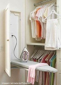 Built-In Ironing Board cabinet in laundry room or master closet Master Bedroom Closet, Budget Bedroom, Diy Bedroom, Design Bedroom, Bathroom Closet, Bedroom Small, Trendy Bedroom, Closet Rooms, Small Master Closet