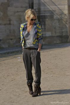 I love Zanna Roberts Rassi's incredible Botticelli face and collection of trousers and bangles.