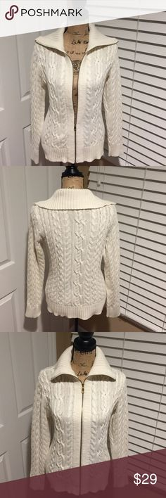 Ralph Lauren cable knitted cardigan sweater Ralph Lauren beautiful cable knitted cardigan sweater.  In Excellent condition beautiful preloved 100% cotton cozy warm and comfortable to wear! Zipper front. Ralph Lauren Sweaters Cardigans