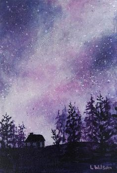 Acrylic on canvas painting. This starry night sky is done in shades of purple with just a hint of pink, creates a lovely atmosphere. Sprinkled with stars the sky is the main feature in this painting. The trees and cottage are in silhouette against the bright night sky. By Goldstarwork, Artist Laura Wilson