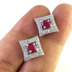 FREE SHIPPING 925 SOLID STERLING SILVER NATURAL MOZAMBQ RUBY GEMSTONE STUDS/TOPS #SilvexStore #Stud