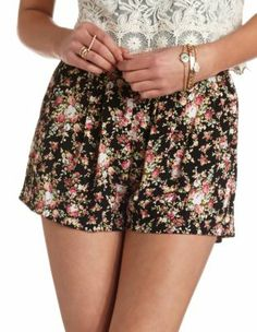 pleated floral print shorts